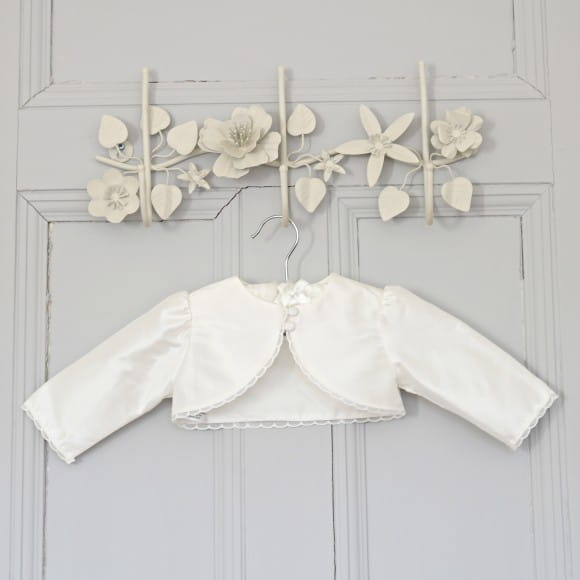 0c36f3d5e180 Clara BoleroOur price  £52.00ViewA sweet little bolero to go over any of  our gowns or dresses. The delicate Cluny lace trim gives it a pretty touch.