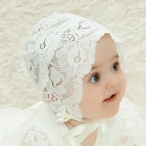 Holly Sheer Lace Christening Bonnet