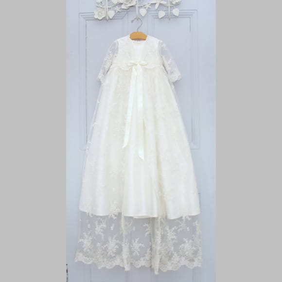 Aorme Long Christening Gowns with Bonnet Beading Crystal Baby-Girls Baptism Dresses